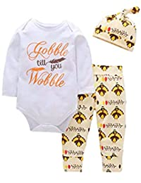 SUPEYA Baby Thanksgiving Letter Print Romper Outfit Turkey Print Pants 3Pcs Set
