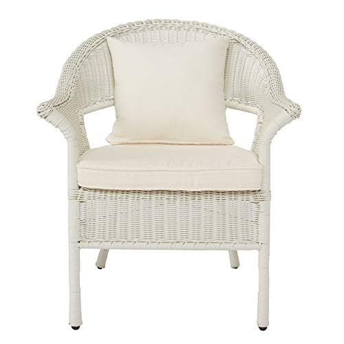 BrylaneHome Roma All-Weather Wicker Stacking Chair, White (Resin Wicker Chairs)