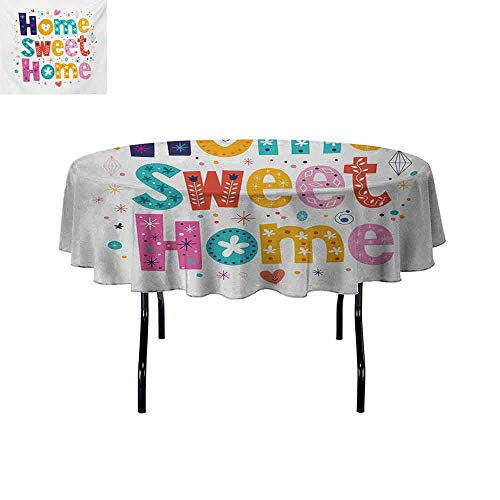 Gloria Johnson Home+Sweet+Home+Iron-Free+Anti-fouling+Holiday+Round+Tablecloth+Typography+Lettering+in+Lively+Colors+and+Floral+Elements+Diamonds+Hearts+Table+Decoration+D70+Inch+Multicolor+