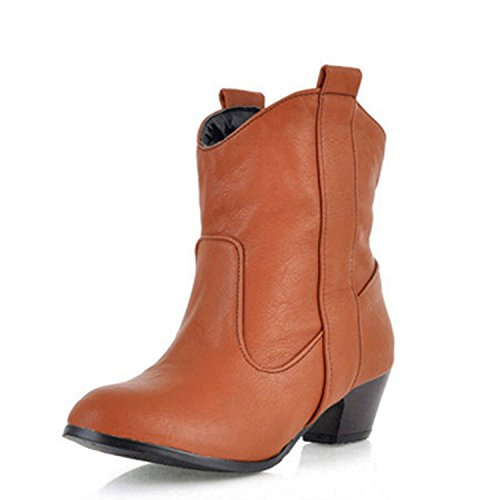 Nonbrand Ladies western ankle boots chelsea booties block heel shoes Camel Oynj8rXJS