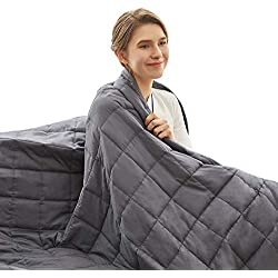 Weighted Idea Cool Weighted Blanket | 12 lbs | 48''x78'' | Cotton | Grey | for Adult Woman and Man