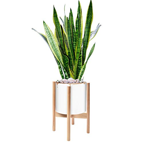 Solid Wood Plant Stand - Easelive 8.5 Inch Wood Plant Stand, Mid Century Modern Flower Pot Stand for Indoor Outdoor Planter, Floor Solid Wood Potted Rack Holder (Pot NOT Included) (Wood Color)