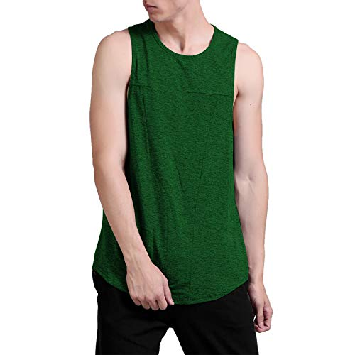 - CHKOKKO Sleeveless Dryfit Gym Fitness Bodybuilding Jersey Tank Tops for Men Workout Green L
