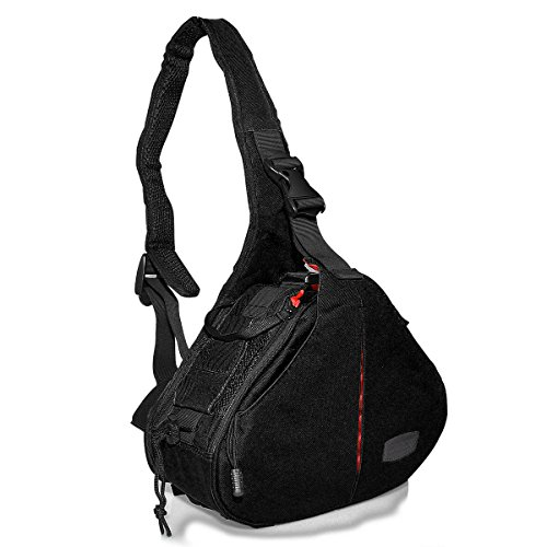 Sling Knapsack (Camera Bag Sling Bag Rucksack Knapsack w/ Rain Cover for Nikon Canon DSLR SLR Daypack For Travel Outdoor Camping Hiking Photography nylon black, by LC Prime)