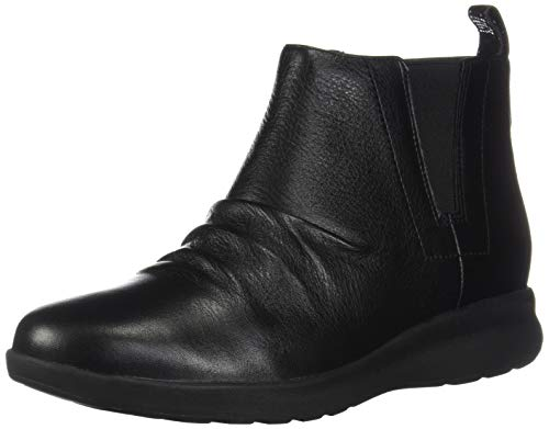 CLARKS Womens Un Adorn Mid Black Leather Boot - - Genuine Boots Womens