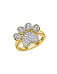 White Cubic Zirconia Paw Print Ring In 14k Gold Over Sterling Silver