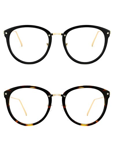 TIJN Vintage Optical Eyewear Non-prescription Eyeglasses Frame with Clear Lenses (I, 52-18-140)