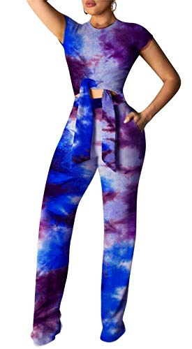 - Women's Round Neck Short Sleeve Colorful Print Crop Tops High Wairst Long Pants Jumpers 2 Piece Outfits