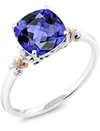 2.70 Ct Cushion Blue Tanzanite 925 Sterling Silver and 10K Rose Gold Ring (Available in size 5, 6, 7, 8, 9)