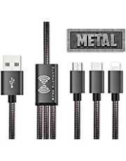The 1st and Only Metal Braided Multi USB Charging Cable 4 ft. by SYNC ELEMENTS 3 in 1 Universal Charger for All in Market Smartphones and Tablets (Grey)