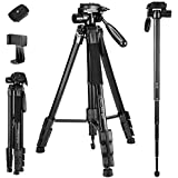 72-Inch Camera/Phone Tripod, Aluminum Tripod/Monopod Full Size for DSLR with 2 Quick Release Plates,Universal Phone Mount and Convenient Carrying Case Ideal for Travel and Work - MH1 Black