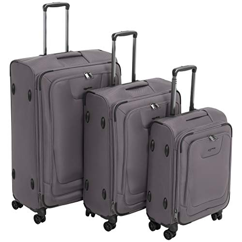 AmazonBasics 3 Piece Expandable Softside Spinner Luggage Suitcase With TSA Lock And Wheels Set - Grey