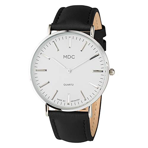 MDC Women's Mens Watches 40mm Minimalist Black Leather Dress Analog Wrist Watch for Women Ultra Thin Slim Simple ()