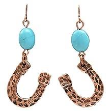 Justin Western Jewelry Womens Earrings Horseshoes Copper Turq E8878