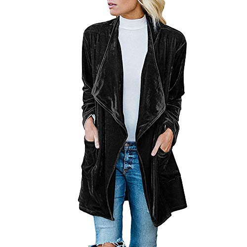 Orangeskycn Women Cardigan Drape Velvet Long Baggy Jacket Open Front Coat with Pockets (Silk Cream Blazer)