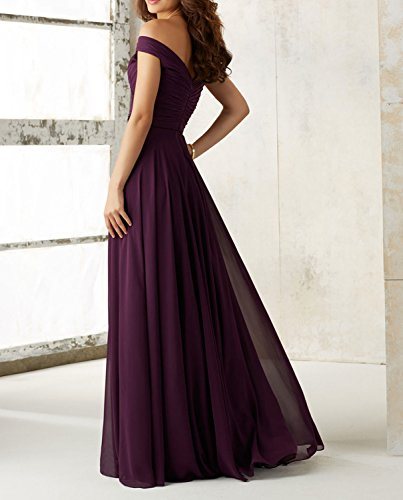 Midnight Blue The Bridesmaid 2017 Long with Neckline Off Plum Z21 Udresses Shoulder Dress Chiffon Bq7O4wwR