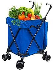 KTYXDE Folding Shopping Cart 4 Wheels, Folding, Sliding Cart, Lightweight Shopping Trolley, Climbing Cart, Shopping Trolley,L45xW56xH95cm,Bearing Weight 30kg Trolley (Color : Blue)