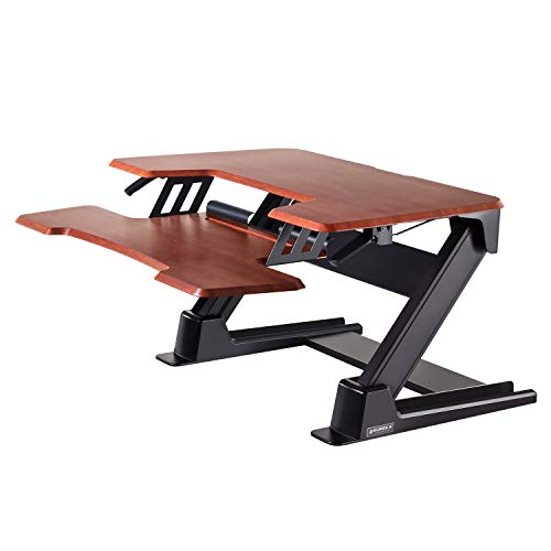 Eureka Ergonomic Sit Stand Desk 36'' Height-Adjustable Standing Desk Converter Gen2 - Cherry
