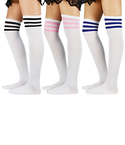 (Zando Womens Stripe Thigh High Socks Over the Knee Cosplay Stockings Long Casual Tube Thigh High Tights Sock for Women 3 Pairs White (Pink Blue Black) One Size)