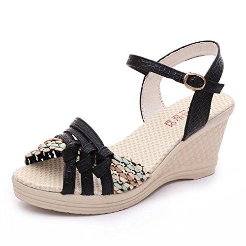 ホット販売、aimtoppy夏サンダルLadiesレディースウェッジ靴夏サンダルプラットフォームつま先ハイヒール靴 US:6 ブラック AIMTOPPY