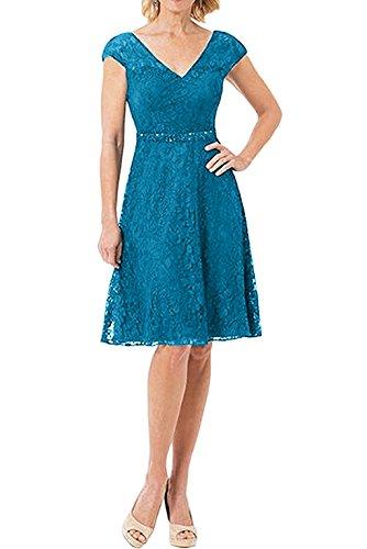 Abendkleider Promkleider Gruen Blau Spitze Jaeger Charmant Linie Knielang Damen Kurzarm Rock A Partykleider g6wxq68YUE