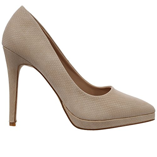 CORE COLLECTION New Womens Pointed Stiletto HIGH Heel Platform Court Shoes Size UK 3-8 Nude Snake Pu 6zGfI