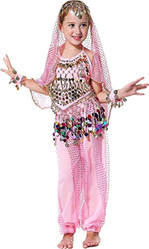 Belly Dancers Costume Kids Halloween Arabian Outfits Size 3T 4T 4 5 6 7 8 9 12 14 16 ()