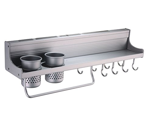 Homego® 52CM 2 Cups Al Kitchen Shelf Storage Rack Spice Tool Holder Seasoning cooktops Wall Kitchen Rack