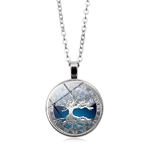 JczR.Y Celtic The Tree of Life Time Gem Neckalce Pendant Round Glass Necklaces for Women Birthday Gift (Silver)