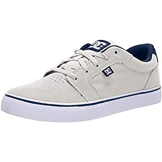 DC Men's Anvil Skate Shoe, Grey/Blue/Yellow, 10 Medium US