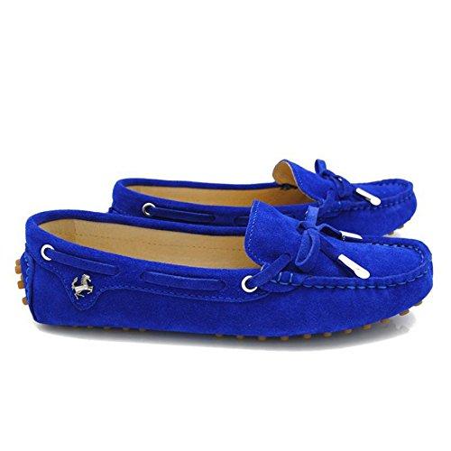 Goeao Dames Casual Comfortabele Suède Leren Heupriem Mocassins Instappers Loafers Dk Blauw