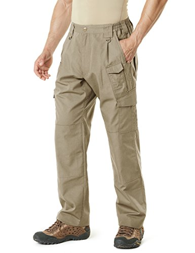 CQR Men's Tactical Pants Lightweight EDC Assault Cargo, Duratex Mag Pocket(tlp105) - Khaki, 34W/30L ()