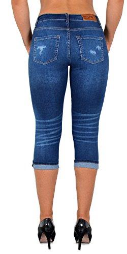 Femme bleu Capri pour Femmes Jeans Pantalon Pantacourt dechir J374 J374 Grande Taille ESRA Jean 5xpS6w4