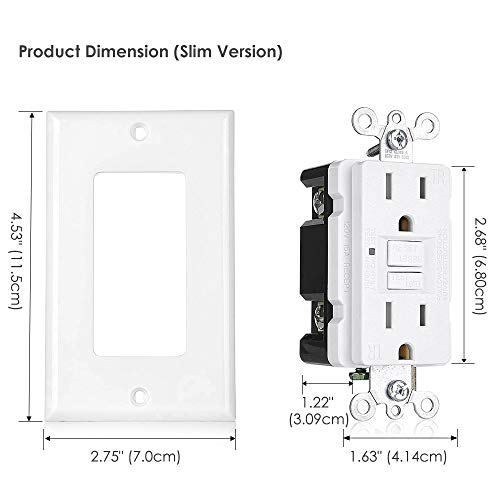[6 Pack] BESTTEN Slim GFCI Outlet, 15A, Tamper-Resistant (TR) GFI Duplex Receptacle with LED Indicator, Self-Test Ground Fault Circuit Interrupter with Decorator Wall Plate, UL Listed, White, USG5 by BESTTEN (Image #6)