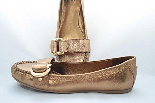 - Saks Fifth Women's Avenue Bronze Metallic Tumbled Leather Flat Slip on (Womens 7.5)