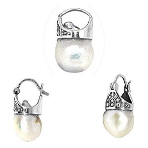 925 Sterling Silver Pendant Earring Set In Antique Baroque Pearl For Women