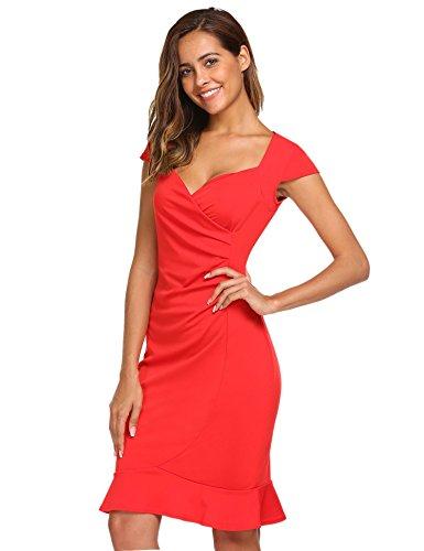 Damen Meaneor Bodycon Rot Businesskleid Kurzarm Meerjungfrau Figurbetontes Cocktailkleid Rückenfreies Kleid Knielang fPAw6dqxP