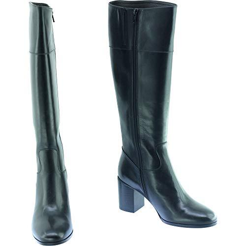 Noir Luxe Son Tailles Cuir Marque Petites Haut Talon Pointures Chaussures Botte Patiné Femme Philo Plumers q6wpxdYT6