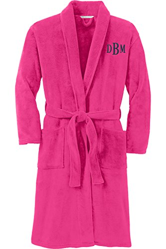 Personalized Plush Microfleece Robe with Embroidered Name, Pink Raspberry, Small/Medium by Monogrammed Me