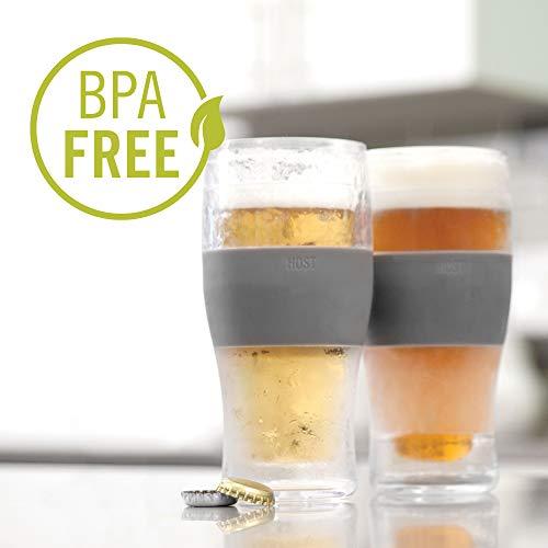 Host Freeze Beer Glasses, 16 ounce Freezer Gel Chiller Double Wall Plastic Frozen Pint Glass, Set of 2, Grey