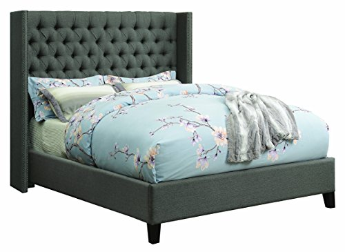 - Benicia Upholstered Queen Bed with Demi-wings and Button Tufting Grey