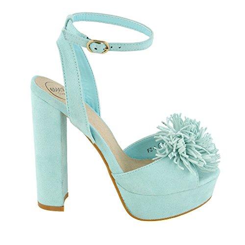Essex Glam Bracelet Cheville Faux Suède Bloc Talon Bout Ouvert Sandales Frange Pastel Bleu Faux Suède