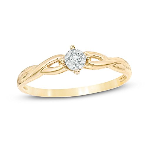 promise ring in 10k yellow gold and rhodium plated