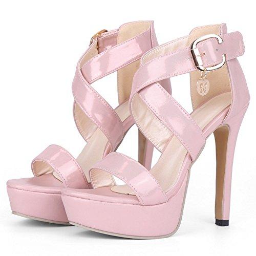 TAOFFEN Women Fashion Open Toe Criss-Cross Strap High Heel Sandals Elegant Stiletto Shoes Pink KJ9vdJ