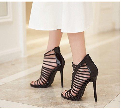 KHSKX-8.5Cm Schwarze Schuhe Schuhe Mit Dünnen Schuhen Aus Leder Farbe Ultra High Heel Sandalen Thirty-six