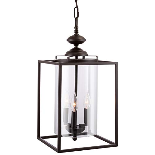 "Kira Home Pandora 21"" Traditional 3-Light Foyer Lantern Chandelier + Clear Cylinder Glass Shade, Adjustable, Oil-Rubbed Bronze Finish"