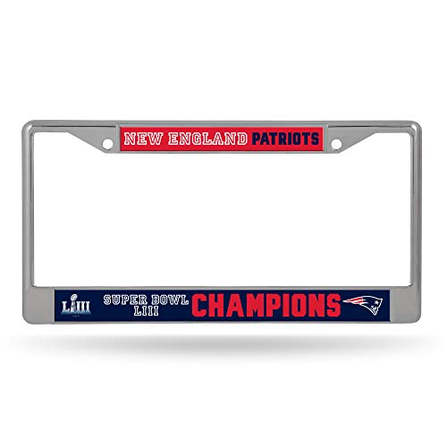 Rico Industries NFL New England Patriots Super Bowl LIII Champions Standard Chrome License Plate Frame, Blue, 12