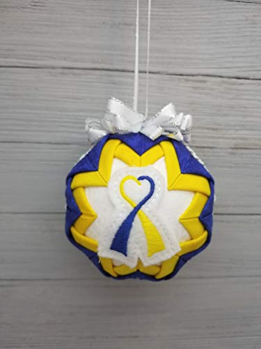 Blue Yellow Ribbon, Down Syndrome Awareness Quilted Fabric Christmas Ornament. Yellow & Blue Accents from Call Her Blessed Crafts