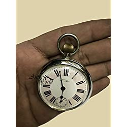 "Antiques World Vintage Original 1900's Antique Collectible Old And Rare ""PUKKA"" Railway Regulator Swiss Made Pocket Watch/watches Clocks And Clock AWUSAHB 0233"