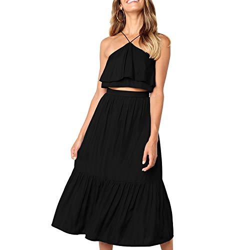 - Women's Elegant Halter Backless Ruffle Crop Top High Waist Maxi Skirt Set 2 Piece Cocktail Party Long Dress Summer Outfit Beach Sundress (X-Large, Black)